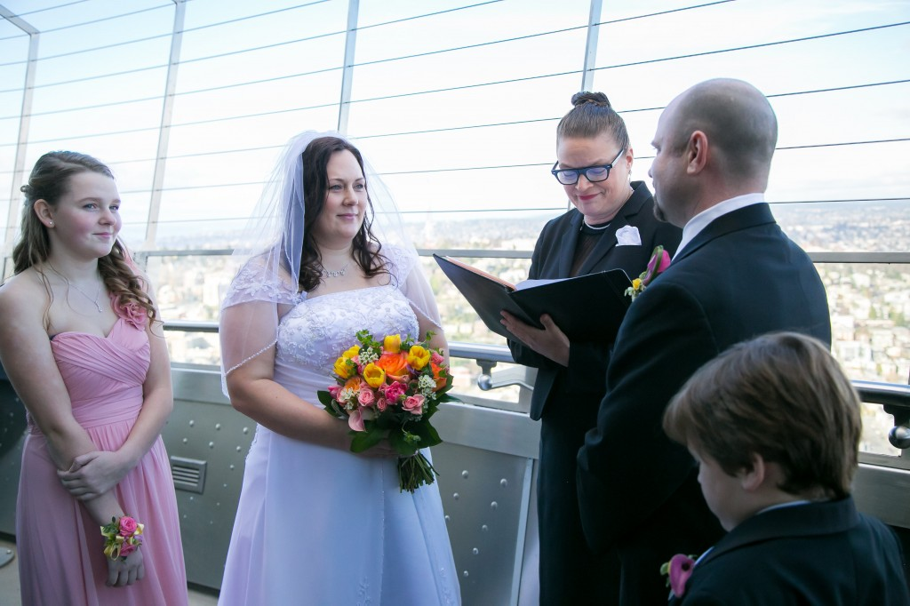 Space Needle Observation Deck Wedding, Seattle Wedding Officiants, Elaine Way, Seattle Officiant Wedding, Seattle Officiants, Space Needle, Seattle Elope