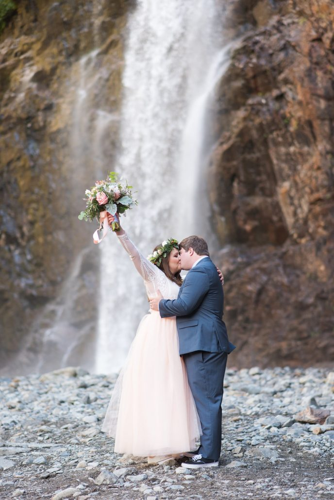 Waterfall elopement, Seattle Wedding Officiants, Seattle Elope, Franklin Falls, Jeanne Phinney Photography, Elaine Way, Elopements Seattle, small wedding